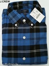 J.CREW flannel shirt button front up down tartan plaid blue navy nr check slim S