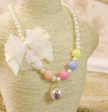 1pcs DIY Pearl Bow Wild Necklace Child Baby Clothing Accessories Sweater Chain
