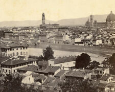 EARLY PANORAMA FLORENCE ITALY STEREOVIEW BRIDGES CATHEDRALS