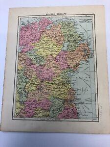Map 1935: Eastern Ireland & France Original Vintage Print 85 Years Old Maps