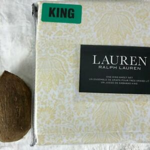 Lauren Ralph Lauren Cotton Leafy Floral White/Yellow KING Sheet Set NEW