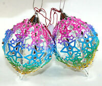 "Christmas Tree Ornament SPARKLE STAR Glitter Rainbow Colors 4.5"" tall NEW"