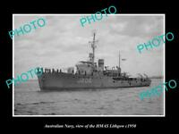OLD LARGE HISTORIC PHOTO OF AUSTRALIAN NAVY SHIP HMAS LITHGOW c1950