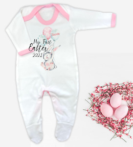 CLEARANCE Personalised My First Easter 2021 Baby Grow Romper Baby Bunny Easter