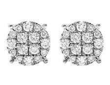 Ladies 10k White Gold Real Diamond Pave Diamond Round Stud Earrings 1.5ct 10m