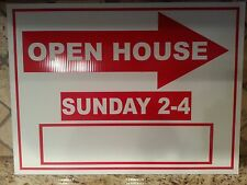 """Lot of 5 Red and White OPEN HOUSE Signs Sunday 2-4pm BULK 18"""" x 24"""" Corrugated"""