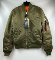 New Alpha Industries MA-1 Reversible Bomber Jacket Slim Fit Olive Men's X-Small