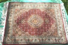 Persian Tabriz Mahi silk and wool handmade hand knotted rug 105 x 85 cm