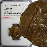 Great Britain George V Bronze 1912 1/2 Penny NGC AU58 BN KM# 809