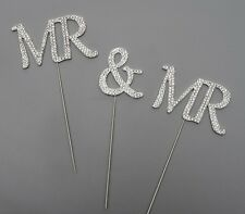 WEDDING CAKE TOPPER PICK DECORATION SILVER MR & MR RHINESTONE DIAMANTE