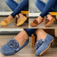 Women Slip On Flat Loafers Ladies Casual Flower Pumps Plimsolls Comfy Shoes UK