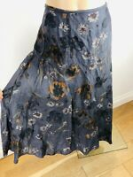 Ladies JIGSAW Linen Skirt Size 16 Blue Shimmer Floral Pattern Flare Fully Lined