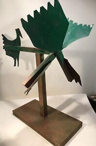 """Huge R. A. Miller Original Whirligig Signed Folk Art On Wood Stand 36x36x26"""""""