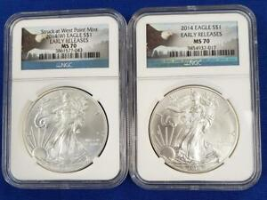 2 2014 US 1ozt .999 Silver Eagle $1s NGC MS 70 Early Releases spots L9936