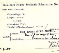 KK150 1938 GB UNIVERSITIES Superb *THE MANCHESTER MUSEUM* Cachet Card Norway
