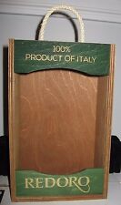 EMPTY wooden crate Frantoi REDORO Olive Oil Italy with rope handle