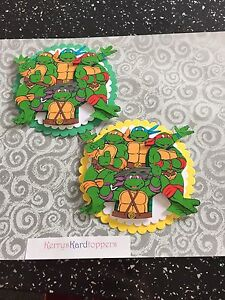 2 x Decoupage Pictures of Turtle Theme Toppers