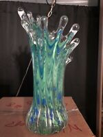 Splash Vase, Murano Style Art Glass Studio's Hand Blown Shades Of Green & Blue