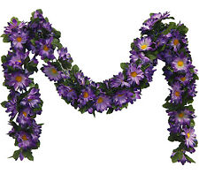 PURPLE ~ DAISIES Chain Garland 5 ft Silk Wedding Flowers Arch Gazebo Decorations