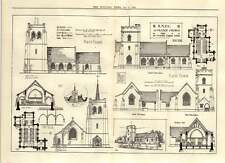 1906 Design For A Village Church 14th Century English Gothic Style