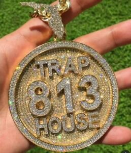 ''TRAP 813 HOUSE'' Statement Pendant White CZ Studded Solid 925 Sterling Silver