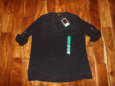 NWT Womens FEVER Black Roll Tab Tunic Shirt Blouse Size XL X-Large