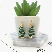 Jewelry Party Christmas Tree Earrings Ear studs Gold Plating Green Dangle Drop