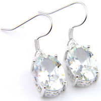 Party Gift Shiny Genuine White Fire Topaz Gemstone Silver Dangle Hook Earrings