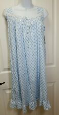 """NWT Eileen West Blue GEOMETRIC MEDALLION 100% COTTON KNIT 38"""" Nightgown Gown S"""
