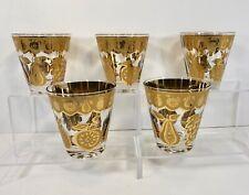 5 Signed Culver Florentine Lowball Whiskey Rocks Barware 22K Gold Vintage