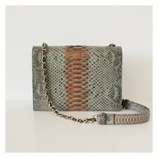 NEW Premium Designer Python Shoulder Leather Boy Flap Handbag in Grey Bronze