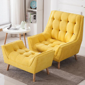 Chenille Fabric High Back Occasional Sofa Armchair Seat Matching Footrest Stool
