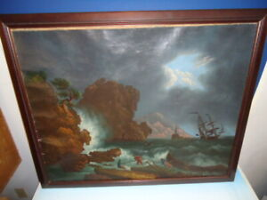 "Antique, primitive, nautical painting in the manner of Thomas Chambers 29"" X 36"""