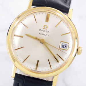 OMEGA TURLER MANUAL CAL611 DATE GOLD PLATED SILVER DIAL MEN'S WATCH
