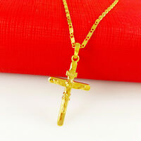 MENS WOMENS 24K YELLOW GOLD FILLED NECKLACE JESUS CROSS PENDANT CHAIN JEWELRY DI