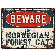 Pp1551 Beware of Norwegian Forest Cat Plate Rustic Chic Sign Home Store Decor