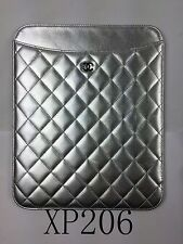 AUTH CHANEL SILVER QUILTED LEATHER IPAD TABLET CASE COVER