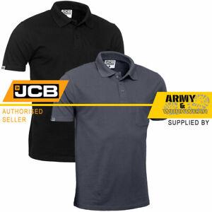 Jcb Mens Work Polo Shirt With Pocket Heavyweight T-shirt Plain Grey Top Workwear