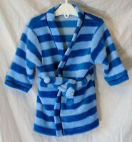 Baby Boys Mothercare Blue Stripe Soft Fleece Dressing Gown Robe Age 3-6 Months