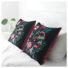 2 x Ikea Saralena Cushion Multi/Black 50x50cm Velvet Cotton Floral with Inner C.