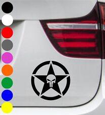 WD Autoaufkleber THE PUNISHER TOTENKOPF STERN STAR SKULL Aufkleber Sticker Decal