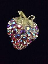 Beautiful Aurora Borealis Crystal Stone Raspberry Pink Strawberry Fruit Pin