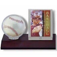 Ultra Pro Wood Base Ball & Card Holder (Dark Wood) Desktop Baseball Display Case