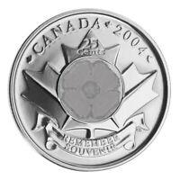 🇨🇦 Canada quarter 25 cents coin, Remembrance Day, Non-Coloured poppy, 2004