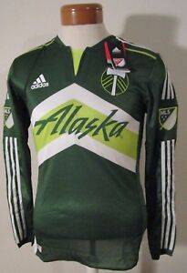 NWT Adidas Portland Timbers Mens 2016 L/S Authentic Home Jersey S Green MSRP$150