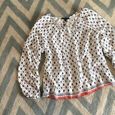 S New Anthropologie Floral Block Print Flowy White Blouse Top Women's Size SMALL