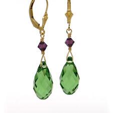 "● LAVENDEL CHARME ● Kristall Pampel Ohrringe ""prasiolith"" grün ygf 14k Gold 585"