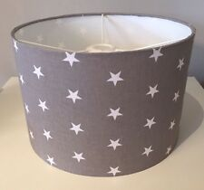 Grey and White Stars Lampshade Handmade In 20cm Drum, Nursery, Baby Bedroom