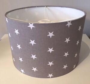 Grey and White Stars Lampshade Handmade In 20cm Drum, Nursery, Baby Bedroom