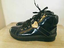 MOSCHINO €240 37 7 Blue Patent Leather High Top Sneaker Boots with Heart Buckles